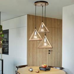 Lampa drewniana wisząca 3 x E27 Trójkąty PZE-903